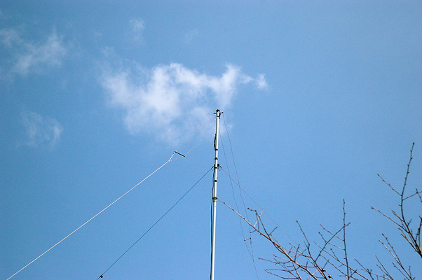 KDP(Inverted Vee type) for 28MHz , Apex angle: 90 deg. Height: 9.3m