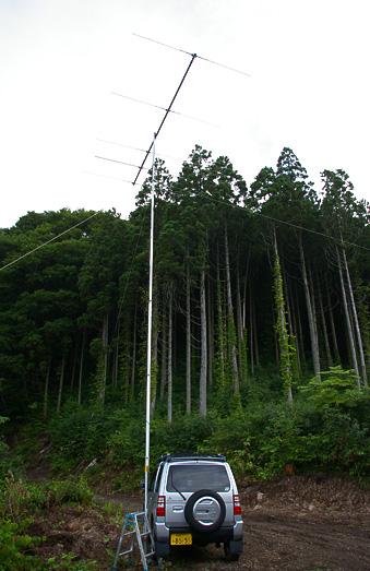 八峰町 池の台林道(F) 標高370m PN90XK。自作5エレ八木宇田 ブーム長 4.5m 9.3mh.