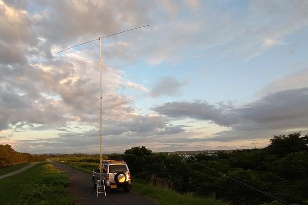 能代市 米代川北岸堤防 水管橋近傍 標高7m 日没20分前。当bLOG初のスマホで撮った写真 (^^;)