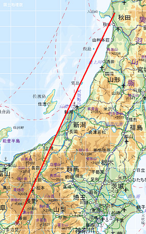 五城目-中津川ルート。距離 約550km。